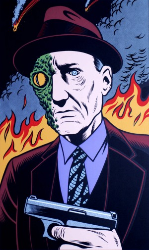 "Portrait of William S. Burroughs by Charles Burns. Robert Bly described Burroughs once as a ""green-skinned reptilian."""