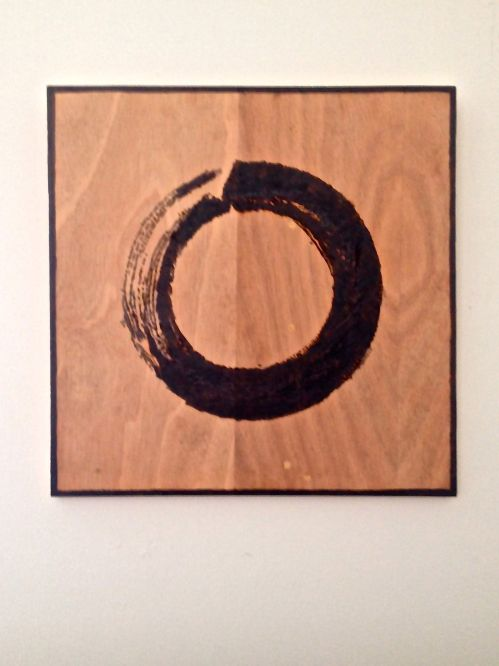 """Enso."" Wood burning on plywood."